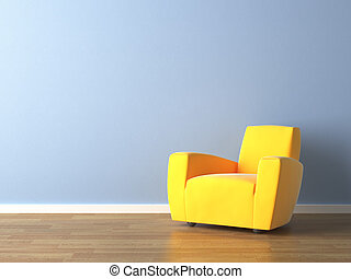 błękitna ściana, fotel, żółty, projektować, wewnętrzny