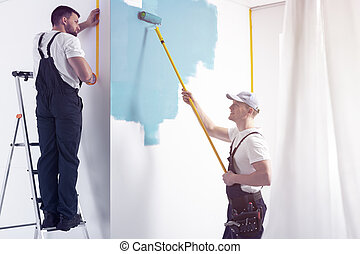 błękitna ściana, znowu, wewnętrzny, biały, malarstwo, ostatni, wałek, człowiek