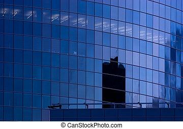 błękitna budowa, drapacz chmur, okna