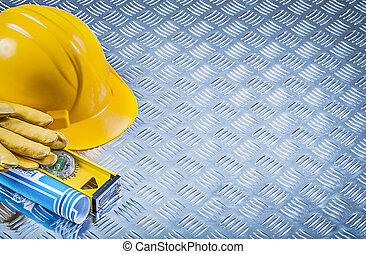 błękitna budowa, odbitki światłodrukowy, glo, wywracany, hełm, bezpieczeństwo, skład