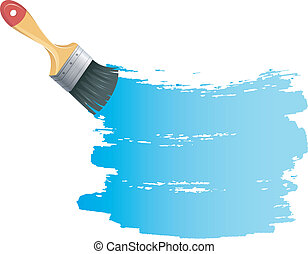 błękitna farba, bryzg, szczotka