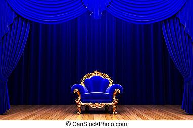 błękitna firanka, aksamit, krzesło