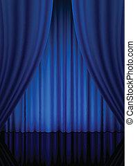 błękitna firanka, teatr, pionowy