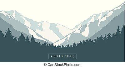błękitna góra, na wolnym powietrzu, las, krajobraz, przygoda