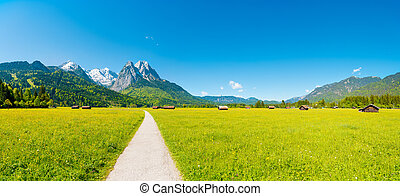 błękitna góra, panorama, (garmisch, niebo, partenkirchen), -, przód