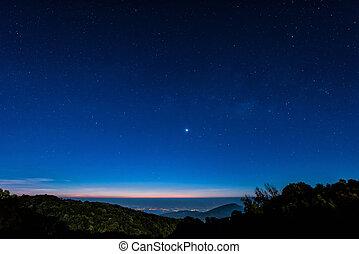 błękitna gwiazda, czas, niebo, scena, noc