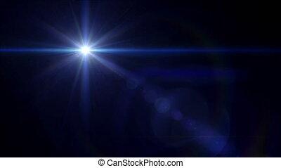 błękitna gwiazda, krzyż, soczewka migoczą, 4k