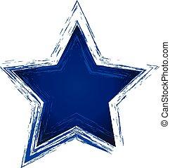 błękitna gwiazda, wektor, grunge, logo, ikona