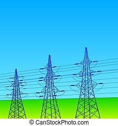 błękitna kwestia, elektryczny, niebo, pylony