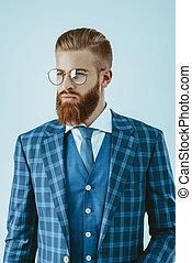błękitna marynarka, modny, człowiek