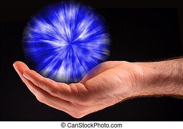 błękitna piłka, świetlany