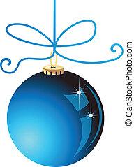 błękitna piłka, boże narodzenie, wektor, pień