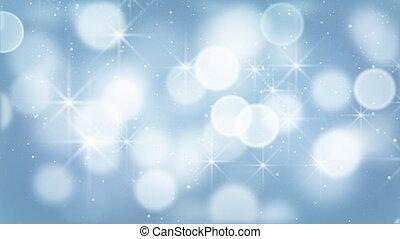 błękitne światła, bokeh, cząstki, pętla