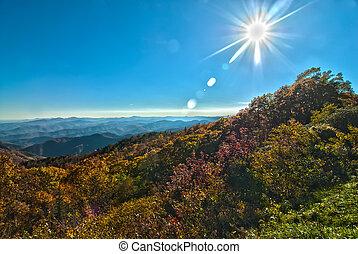 błękitne góry, grzbiet, na północ carolina