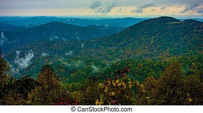 błękitne góry, grzbiet, napędowy, narodowy park, przez