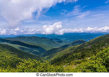 błękitne góry, grzbiet, przez, prospekt