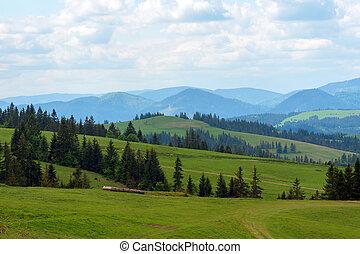 błękitne góry, wspaniały, krajobraz