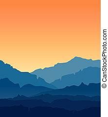 błękitne góry, zmierzch, krajobraz