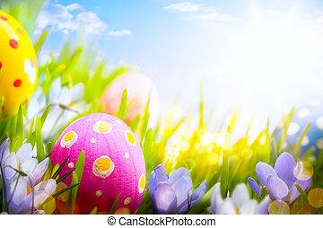błękitne kwiecie, barwny, jaja, ozdobny, trawa, wielkanoc