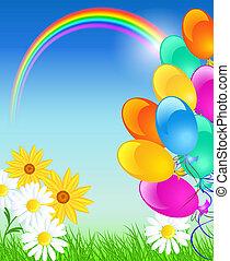 błękitne niebo, balony, tęcza