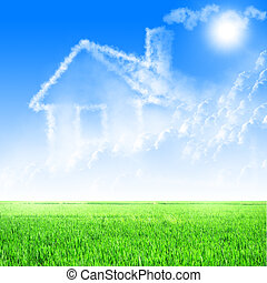 błękitne niebo, dom, chmury