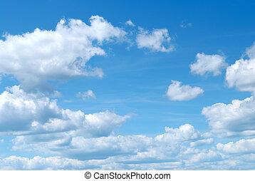 błękitne niebo, i, chmury