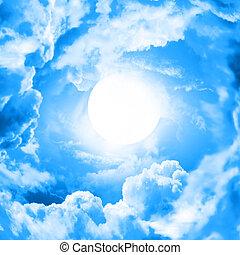 błękitne niebo, księżyc