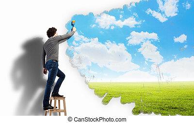 błękitne niebo, młody, pochmurny, rysunek, człowiek