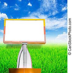 błękitne niebo, reklama, czysty, tablica ogłoszeń, twój