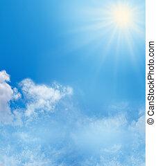 błękitne niebo, tło, światło słoneczne