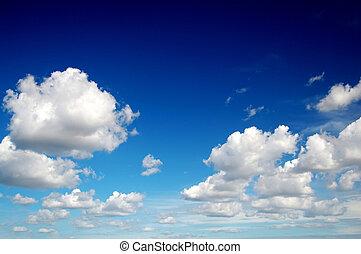 błękitne niebo, z, bawełna, podobny, chmury
