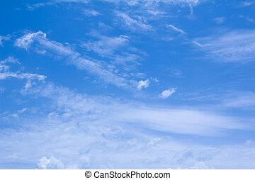 błękitne niebo, z, biały zasępiają się, dla, tło