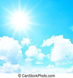 błękitne niebo, z, chmury, i, słońce, retro, filtr, skutek
