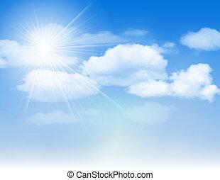 błękitne niebo, z, chmury, i, sun.