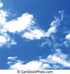 błękitne niebo, z, clouds., wektor