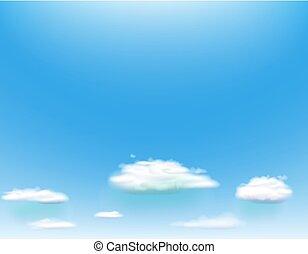 błękitne niebo, z, clouds., wektor, tło.