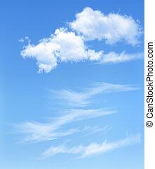 błękitne niebo, z, clouds., wektor, tło