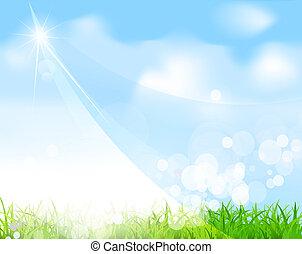 błękitne niebo, z, trawa, belka, plama