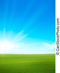 błękitne niebo, -, zielone pole, krajobraz