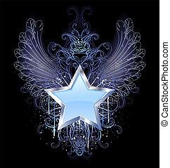 błękitne tło, ciemny, gwiazda