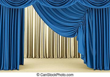 błękitne tło, teatr, kurtyna