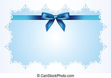 błękitne tło, z, koronka, i, ribbo