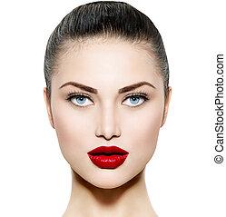 błękitne wejrzenie, brunetka, piękno, makijaż, kobieta, portrait.