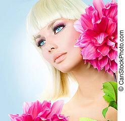 błękitne wejrzenie, krótki, piękno, włosy, dziewczyna, biały...