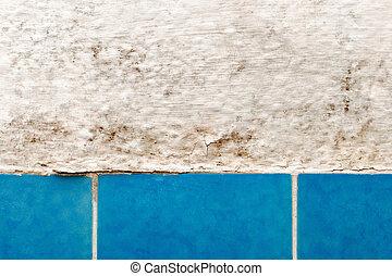 błękitny, łazienka, ściana, spleśniały, dachówka, closeup