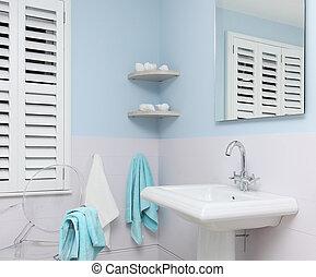 błękitny, łazienka, szczegół
