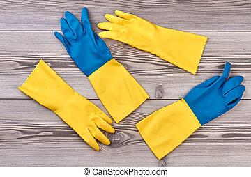 błękitny, ścierka, żółty, gloves.