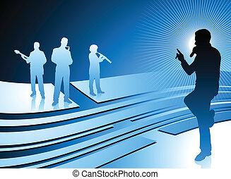 błękitny, śpiewak, abstrakcyjny, banda, tło, internet