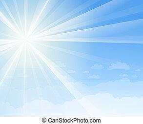 błękitny, światło słoneczne, niebo