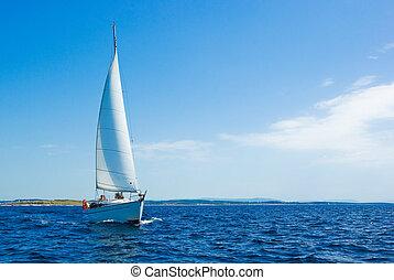 błękitny, żaglówka, morze